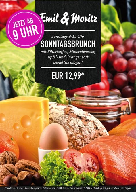 Sonntagsbrunch jetzt ab 9 Uhr! Mit Filterkaffee, Apfel- und Orangensaft und Mineralwasser - soviel Sie mögen! Für 12,99 € pro Person (Kinder weniger)!